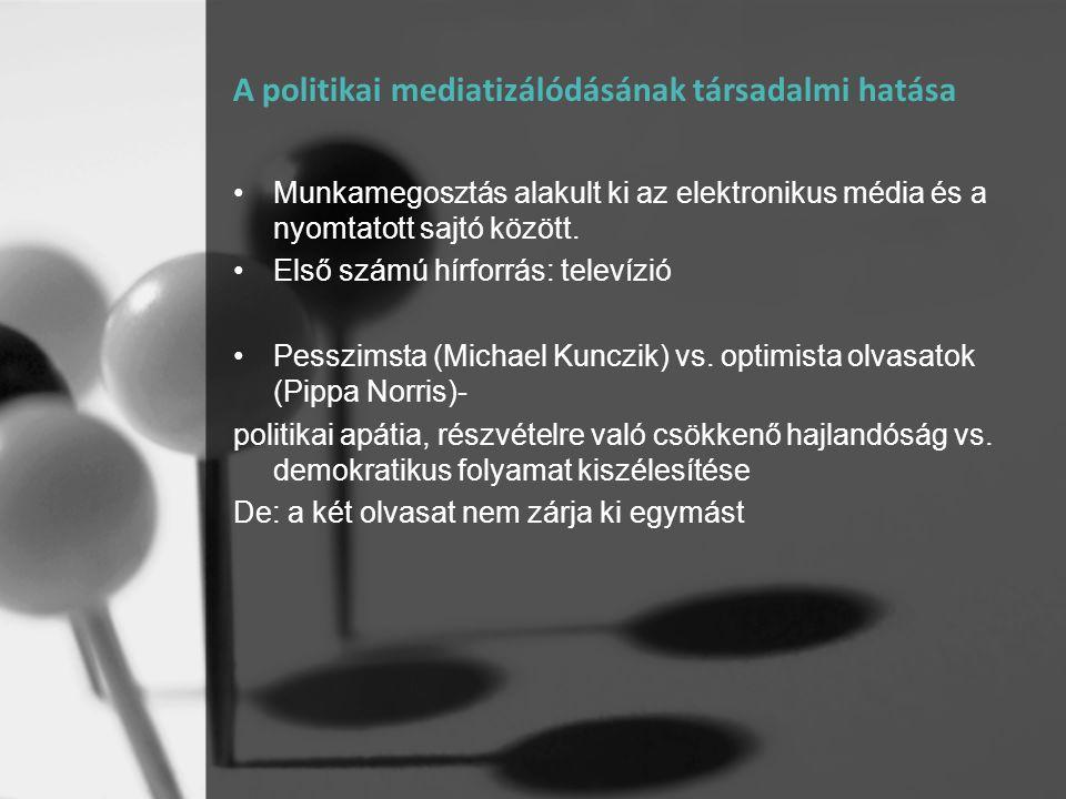 A politikai mediatizálódásának társadalmi hatása •Munkamegosztás alakult ki az elektronikus média és a nyomtatott sajtó között. •Első számú hírforrás: