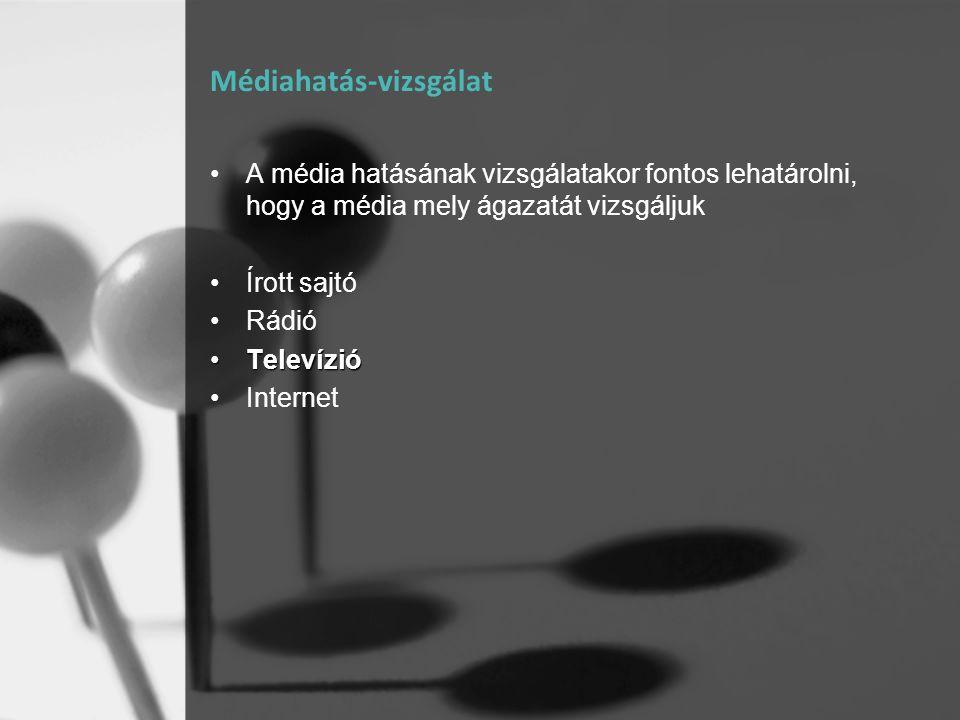 Médiahatás-vizsgálat •A média hatásának vizsgálatakor fontos lehatárolni, hogy a média mely ágazatát vizsgáljuk •Írott sajtó •Rádió •Televízió •Intern