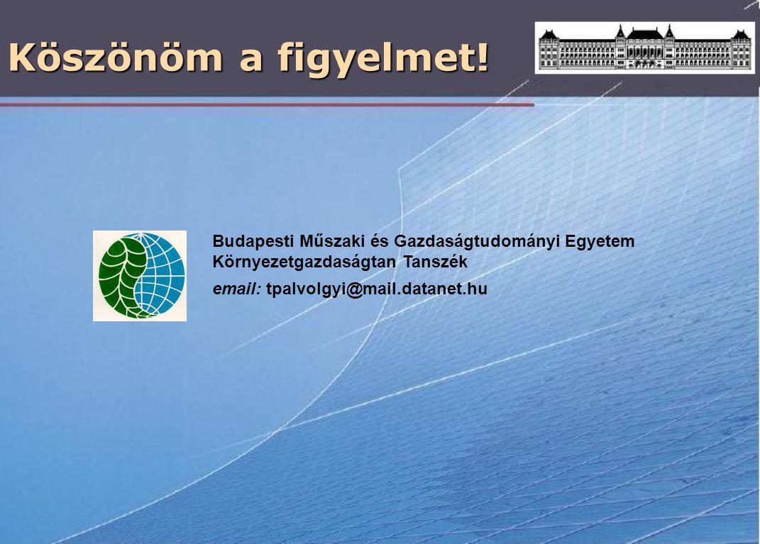 Köszönöm a figyelmet! Budapesti Műszaki és Gazdaságtudományi Egyetem Környezetgazdaságtan Tanszék email: tpalvolgyi@mail.datanet.hu