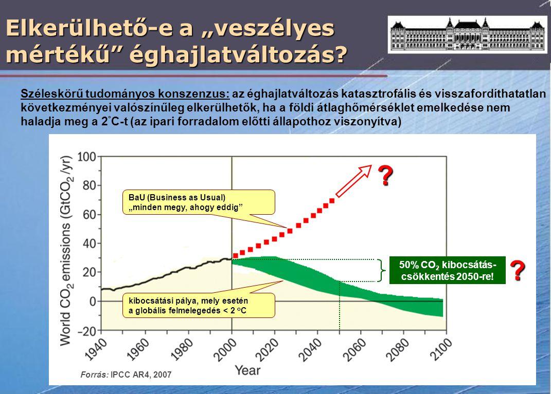 """Elkerülhető-e a """"veszélyes mértékű"""" éghajlatváltozás? 50% CO 2 kibocsátás- csökkentés 2050-re! kibocsátási pálya, mely esetén a globális felmelegedés"""