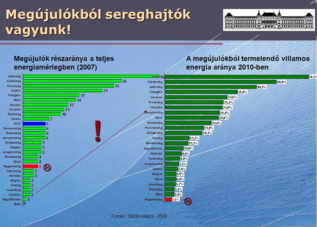 Megújulókból sereghajtók vagyunk! Megújulók részaránya a teljes energiamérlegben (2007) A megújulókból termelendő villamos energia aránya 2010-ben 