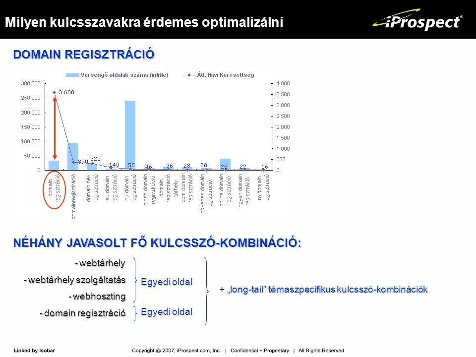Milyen kulcsszavakra érdemes optimalizálni DOMAIN REGISZTRÁCIÓ NÉHÁNY JAVASOLT FŐ KULCSSZÓ-KOMBINÁCIÓ: -webtárhely -webtárhely szolgáltatás -webhoszti