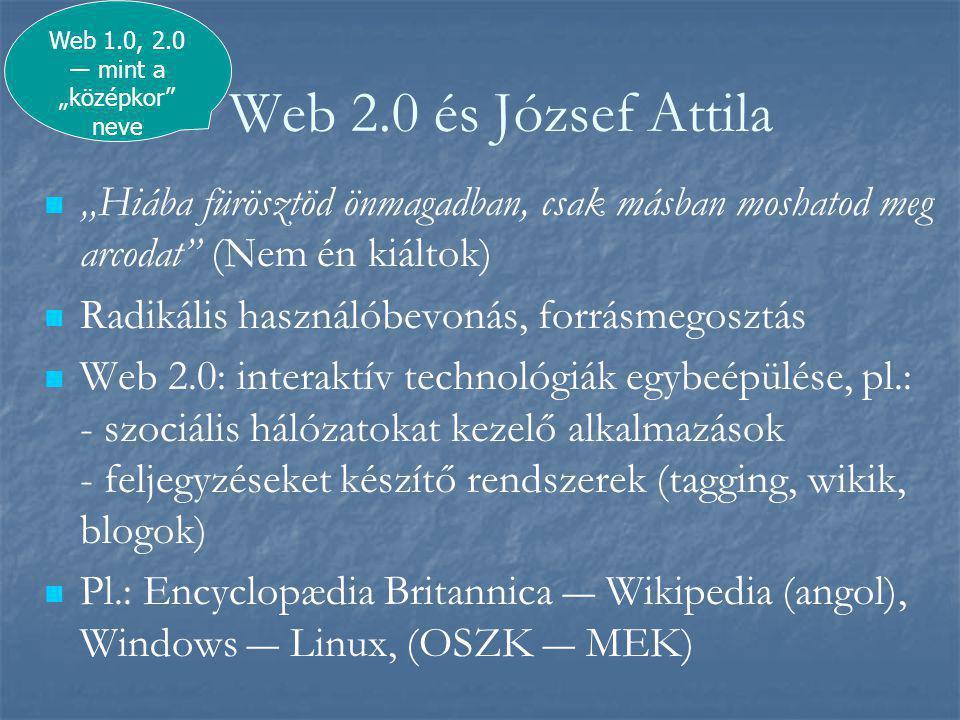 """Web 2.0 és József Attila   """"Hiába fürösztöd önmagadban, csak másban moshatod meg arcodat (Nem én kiáltok)   Radikális használóbevonás, forrásmegosztás   Web 2.0: interaktív technológiák egybeépülése, pl.: - szociális hálózatokat kezelő alkalmazások - feljegyzéseket készítő rendszerek (tagging, wikik, blogok)   Pl.: Encyclopædia Britannica ― Wikipedia (angol), Windows ― Linux, (OSZK ― MEK) Web 1.0, 2.0 ― mint a """"középkor neve"""