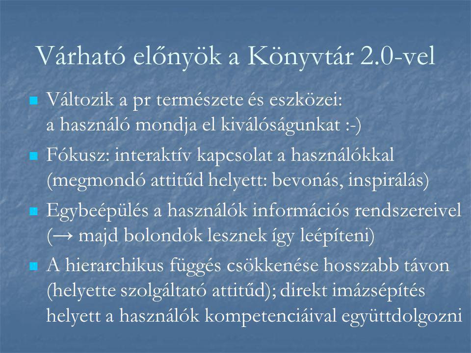 Várható előnyök a Könyvtár 2.0-vel   Változik a pr természete és eszközei: a használó mondja el kiválóságunkat :-)   Fókusz: interaktív kapcsolat