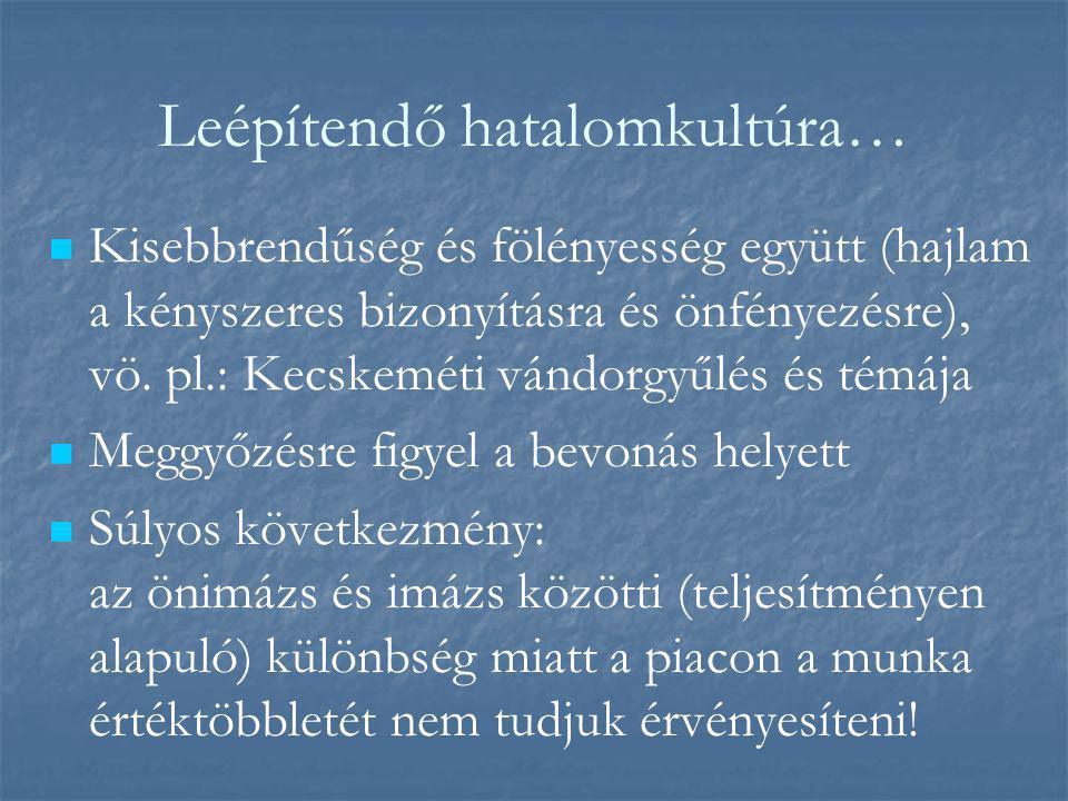Leépítendő hatalomkultúra…   Kisebbrendűség és fölényesség együtt (hajlam a kényszeres bizonyításra és önfényezésre), vö. pl.: Kecskeméti vándorgyűl