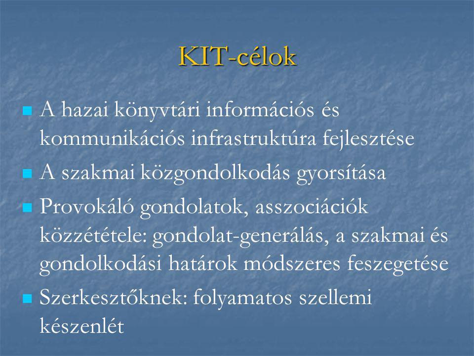 KIT-célok   A hazai könyvtári információs és kommunikációs infrastruktúra fejlesztése   A szakmai közgondolkodás gyorsítása   Provokáló gondolat