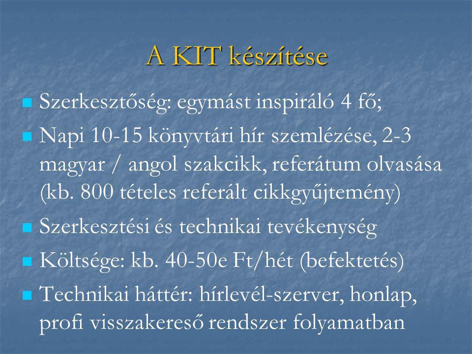 A KIT készítése   Szerkesztőség: egymást inspiráló 4 fő;   Napi 10-15 könyvtári hír szemlézése, 2-3 magyar / angol szakcikk, referátum olvasása (k