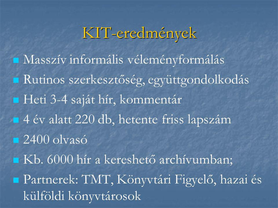 KIT-eredmények   Masszív informális véleményformálás   Rutinos szerkesztőség, együttgondolkodás   Heti 3-4 saját hír, kommentár   4 év alatt 220 db, hetente friss lapszám   2400 olvasó   Kb.