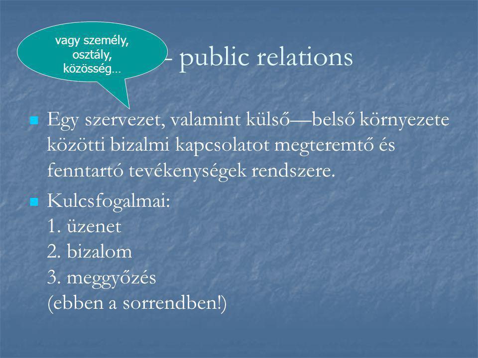 Pr – public relations   Egy szervezet, valamint külső—belső környezete közötti bizalmi kapcsolatot megteremtő és fenntartó tevékenységek rendszere.