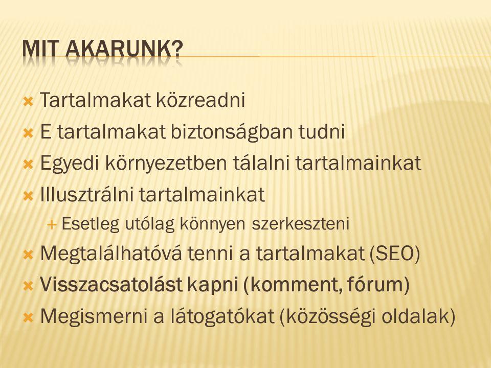  Tartalmakat közreadni  E tartalmakat biztonságban tudni  Egyedi környezetben tálalni tartalmainkat  Illusztrálni tartalmainkat  Esetleg utólag könnyen szerkeszteni  Megtalálhatóvá tenni a tartalmakat (SEO)  Visszacsatolást kapni (komment, fórum)  Megismerni a látogatókat (közösségi oldalak)