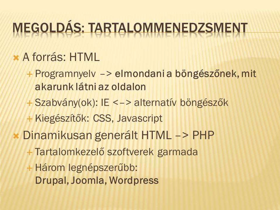  A forrás: HTML  Programnyelv –> elmondani a böngészőnek, mit akarunk látni az oldalon  Szabvány(ok): IE alternatív böngészők  Kiegészítők: CSS, Javascript  Dinamikusan generált HTML –> PHP  Tartalomkezelő szoftverek garmada  Három legnépszerűbb: Drupal, Joomla, Wordpress