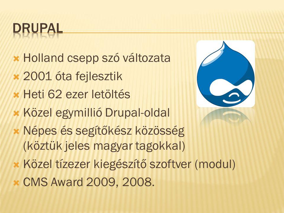  Holland csepp szó változata  2001 óta fejlesztik  Heti 62 ezer letöltés  Közel egymillió Drupal-oldal  Népes és segítőkész közösség (köztük jeles magyar tagokkal)  Közel tízezer kiegészítő szoftver (modul)  CMS Award 2009, 2008.