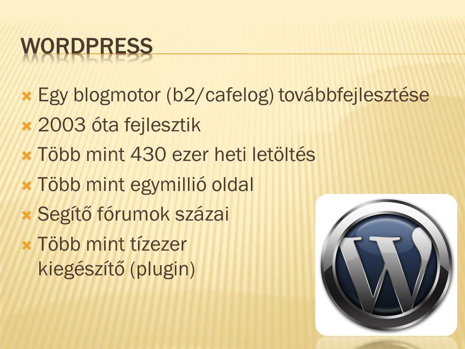  Egy blogmotor (b2/cafelog) továbbfejlesztése  2003 óta fejlesztik  Több mint 430 ezer heti letöltés  Több mint egymillió oldal  Segítő fórumok százai  Több mint tízezer kiegészítő (plugin)