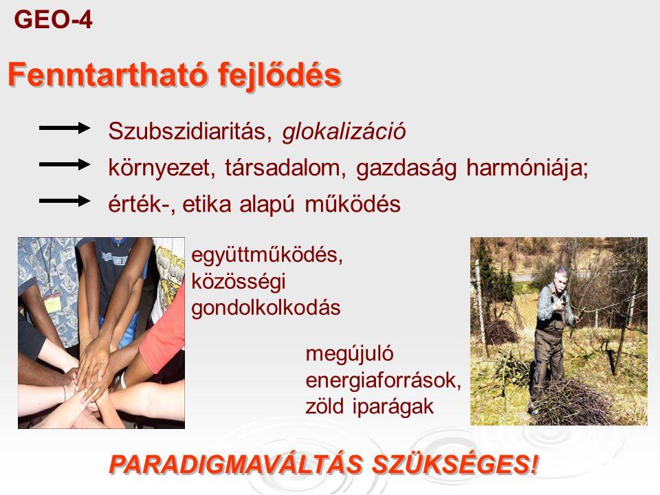 GEO-4 Fenntartható fejlődés Szubszidiaritás, glokalizáció környezet, társadalom, gazdaság harmóniája; megújuló energiaforrások, zöld iparágak együttműködés, közösségi gondolkolkodás érték-, etika alapú működés PARADIGMAVÁLTÁS SZÜKSÉGES!