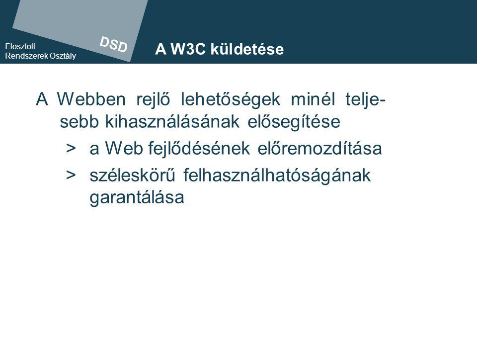 DSD Elosztott Rendszerek Osztály Befolyás  Előterjesztések: a W3C arra biztatja tagjait, hogy gondolataikkal, igényeikkel és specifikációikkal járuljanak hozzá ahhoz, hogy a W3C betölthesse küldetését.