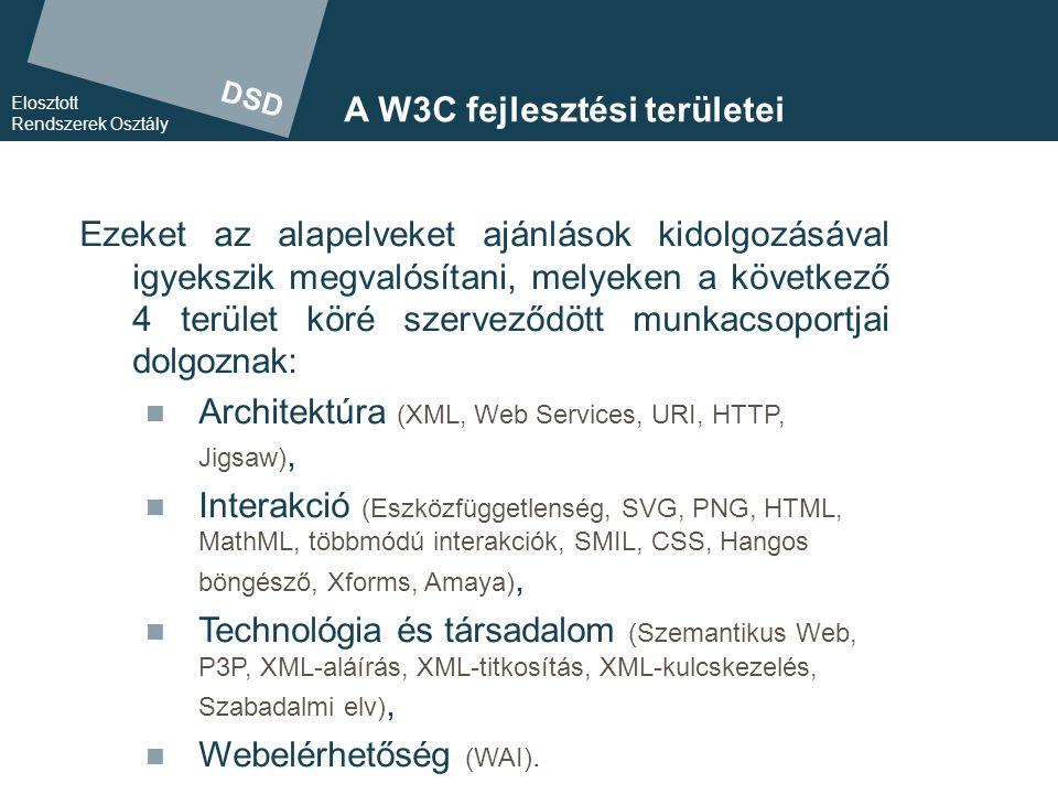 DSD Elosztott Rendszerek Osztály A W3C-technológiák