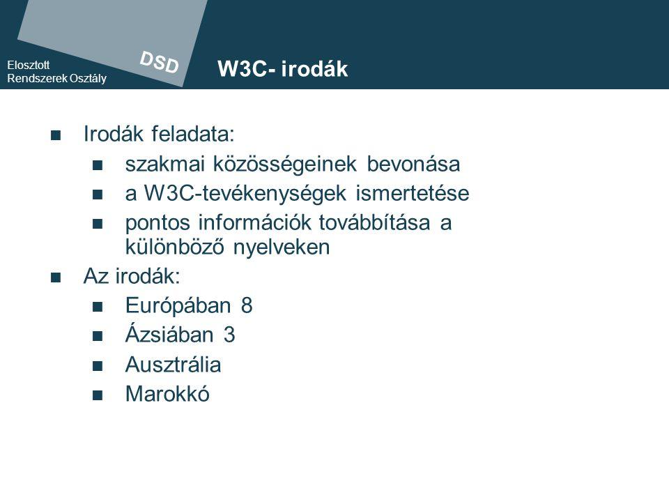 DSD Elosztott Rendszerek Osztály A W3C Magyar Iroda céljai  A magyar intézmények (egyetemek, főiskolák, kormányzati szervek, civil szervezetek) folyamatos tájékoztatása a W3C fejlesztéseiről:  honlap (http://www.w3c.hu/)http://www.w3c.hu/  hírek  hírlevél  dokumentum-fordítások  rendezvények (WWW2003)WWW2003  A magyar szervezetek bevonása
