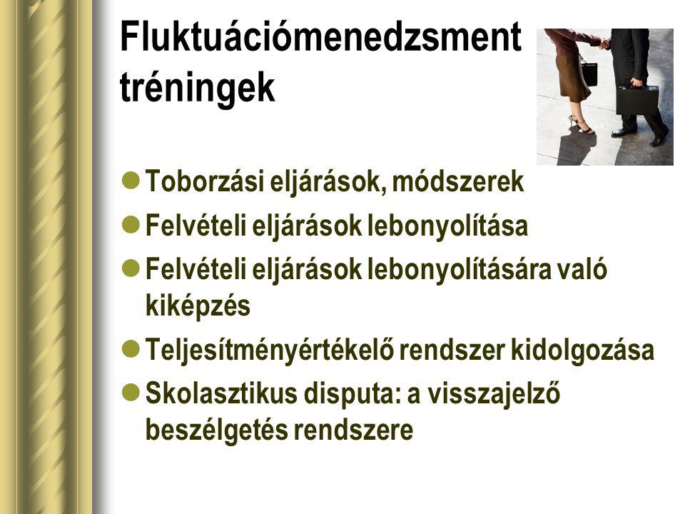 Fluktuációmenedzsment tréningek  Toborzási eljárások, módszerek  Felvételi eljárások lebonyolítása  Felvételi eljárások lebonyolítására való kiképz