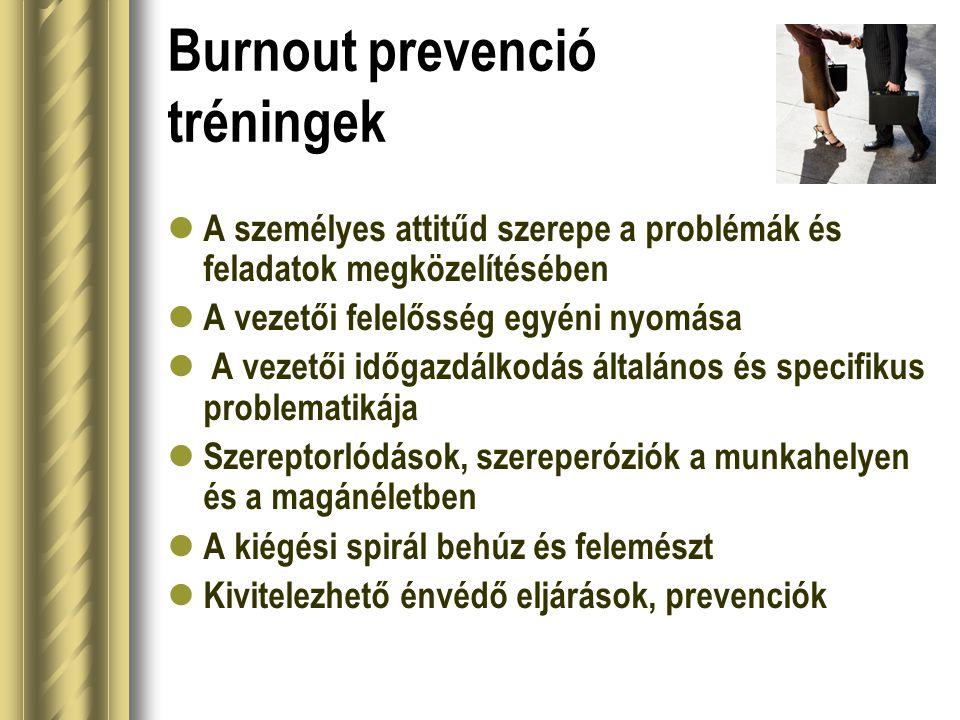 Burnout prevenció tréningek  A személyes attitűd szerepe a problémák és feladatok megközelítésében  A vezetői felelősség egyéni nyomása  A vezetői