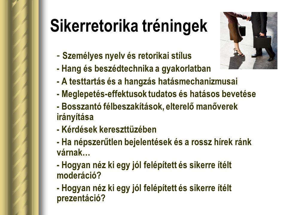 Sikerretorika tréningek - Személyes nyelv és retorikai stílus - Hang és beszédtechnika a gyakorlatban - A testtartás és a hangzás hatásmechanizmusai -