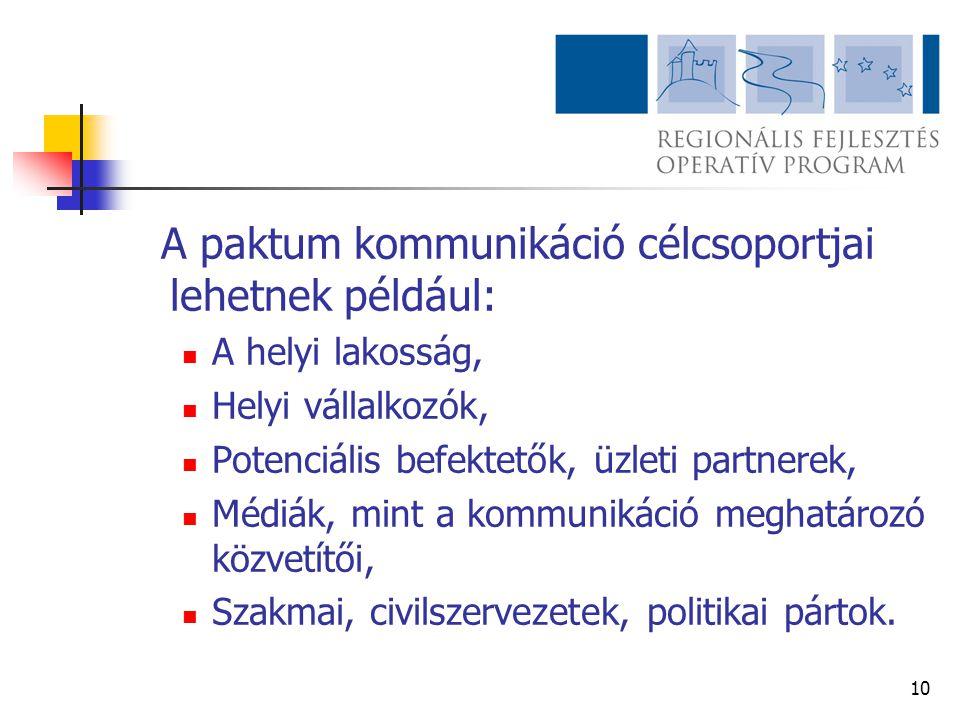 10 A paktum kommunikáció célcsoportjai lehetnek például:  A helyi lakosság,  Helyi vállalkozók,  Potenciális befektetők, üzleti partnerek,  Médiák