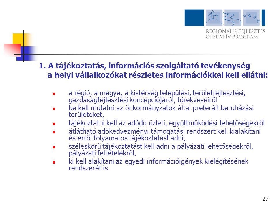27 1. A tájékoztatás, információs szolgáltató tevékenység a helyi vállalkozókat részletes információkkal kell ellátni:  a régió, a megye, a kistérség