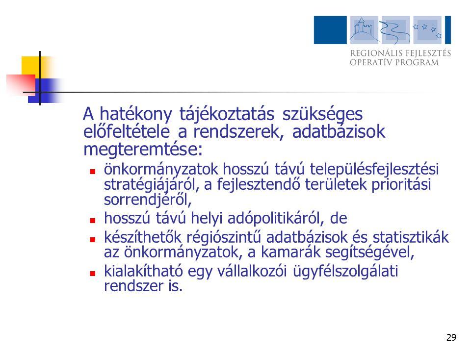 29 A hatékony tájékoztatás szükséges előfeltétele a rendszerek, adatbázisok megteremtése:  önkormányzatok hosszú távú településfejlesztési stratégiáj
