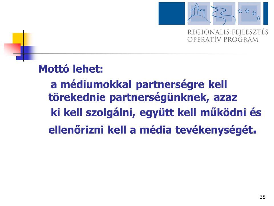 38 Mottó lehet: a médiumokkal partnerségre kell törekednie partnerségünknek, azaz ki kell szolgálni, együtt kell működni és ellenőrizni kell a média t