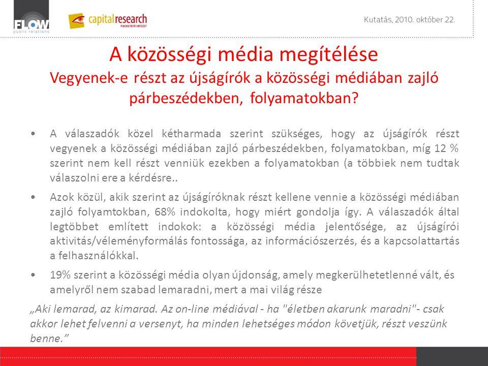 A közösségi média megítélése Vegyenek-e részt az újságírók a közösségi médiában zajló párbeszédekben, folyamatokban.