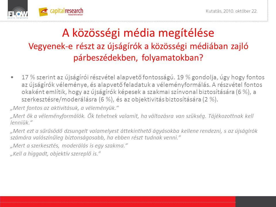 •17 % szerint az újságírói részvétel alapvető fontosságú. 19 % gondolja, úgy hogy fontos az újságírók véleménye, és alapvető feladatuk a véleményformá