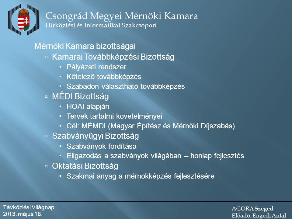 Mérnöki Kamara bizottságai  Kamarai Továbbképzési Bizottság  Pályázati rendszer  Kötelező továbbképzés  Szabadon választható továbbképzés  MÉDI Bizottság  HOAI alapján  Tervek tartalmi követelményei  Cél: MÉMDI (Magyar Építész és Mérnöki Díjszabás)  Szabványügyi Bizottság  Szabványok fordítása  Eligazodás a szabványok világában – honlap fejlesztés  Oktatási Bizottság  Szakmai anyag a mérnökképzés fejlesztésére Csongrád Megyei Mérnöki Kamara Hírközlési és Informatikai Szakcsoport Távközlési Világnap 201 3.