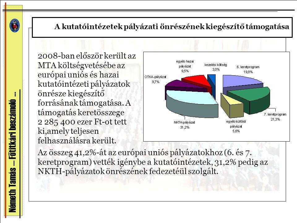 Németh Tamás — Főtitkári beszámoló … 2008-ban először került az MTA költségvetésébe az európai uniós és hazai kutatóintézeti pályázatok önrésze kiegés
