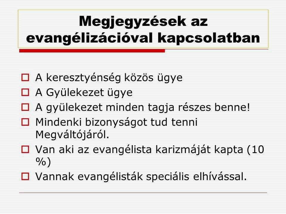 Megjegyzések az evangélizációval kapcsolatban  A keresztyénség közös ügye  A Gyülekezet ügye  A gyülekezet minden tagja részes benne!  Mindenki bi