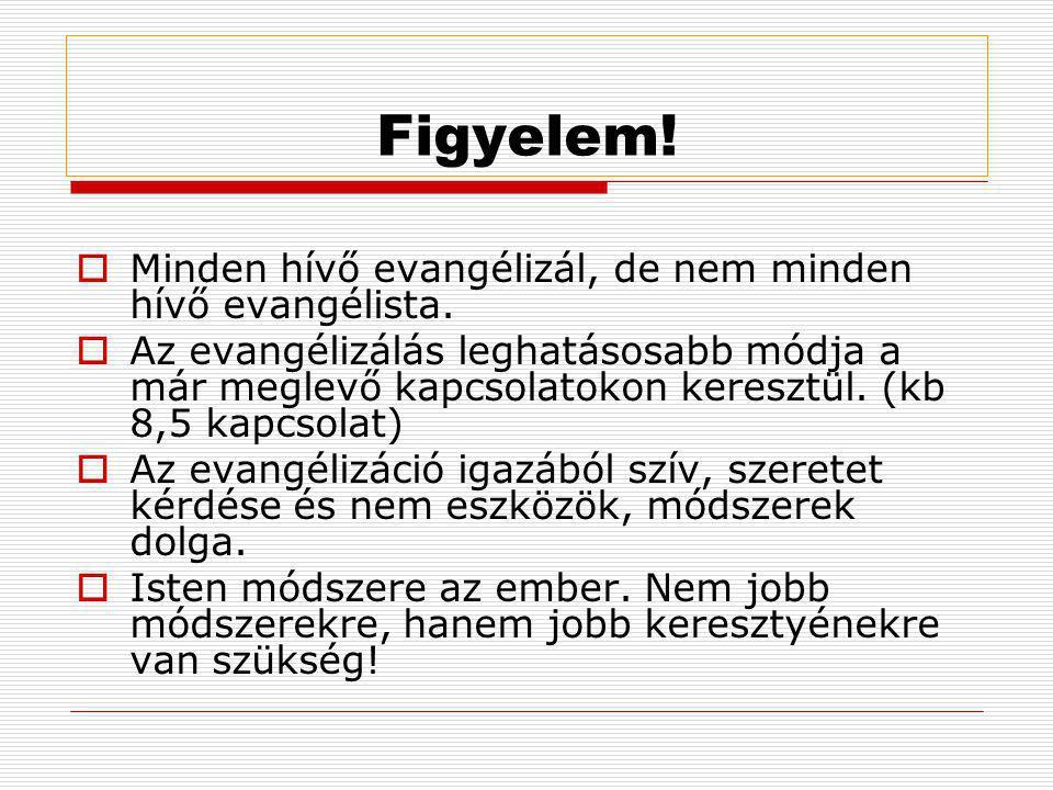 Figyelem!  Minden hívő evangélizál, de nem minden hívő evangélista.  Az evangélizálás leghatásosabb módja a már meglevő kapcsolatokon keresztül. (kb