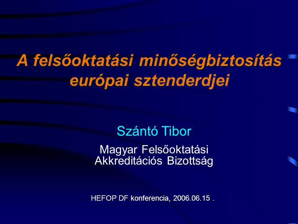 A felsőoktatási minőségbiztosítás európai A felsőoktatási minőségbiztosítás európai sztenderdjei Szántó Tibor Magyar Felsőoktatási Akkreditációs Bizottság HEFOP DF konferencia, 2006.06.15.