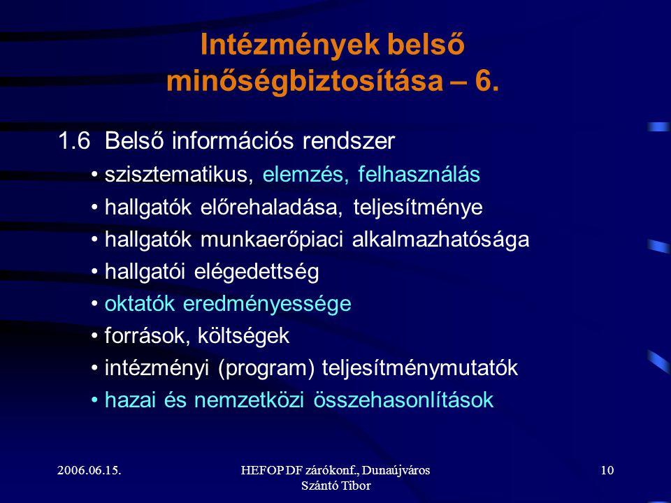 2006.06.15.HEFOP DF zárókonf., Dunaújváros Szántó Tibor 10 1.6 Belső információs rendszer • szisztematikus, elemzés, felhasználás • hallgatók előrehal