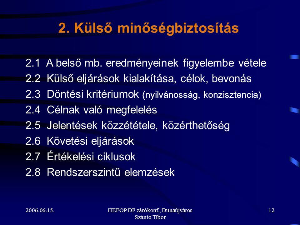 2006.06.15.HEFOP DF zárókonf., Dunaújváros Szántó Tibor 12 2.1 A belső mb.