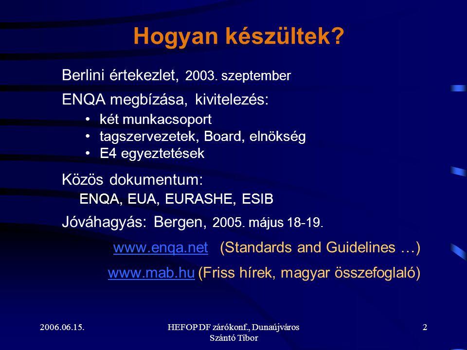 2006.06.15.HEFOP DF zárókonf., Dunaújváros Szántó Tibor 2 Hogyan készültek? Berlini értekezlet, 2003. szeptember ENQA megbízása, kivitelezés: •két mun