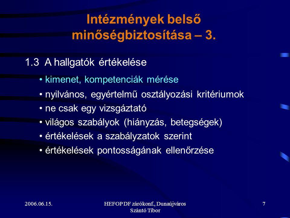 2006.06.15.HEFOP DF zárókonf., Dunaújváros Szántó Tibor 7 1.3 A hallgatók értékelése • kimenet, kompetenciák mérése • nyilvános, egyértelmű osztályozási kritériumok • ne csak egy vizsgáztató • világos szabályok (hiányzás, betegségek) • értékelések a szabályzatok szerint • értékelések pontosságának ellenőrzése Intézmények belső minőségbiztosítása – 3.