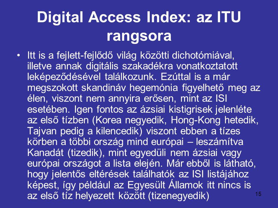 15 Digital Access Index: az ITU rangsora •Itt is a fejlett-fejlődő világ közötti dichotómiával, illetve annak digitális szakadékra vonatkoztatott leké
