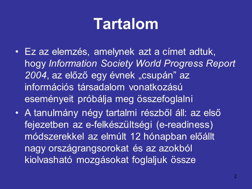 """2 Tartalom •Ez az elemzés, amelynek azt a címet adtuk, hogy Information Society World Progress Report 2004, az előző egy évnek """"csupán"""" az információs"""