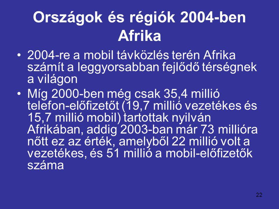 22 Országok és régiók 2004-ben Afrika •2004-re a mobil távközlés terén Afrika számít a leggyorsabban fejlődő térségnek a világon •Míg 2000-ben még csak 35,4 millió telefon-előfizetőt (19,7 millió vezetékes és 15,7 millió mobil) tartottak nyilván Afrikában, addig 2003-ban már 73 millióra nőtt ez az érték, amelyből 22 millió volt a vezetékes, és 51 millió a mobil-előfizetők száma