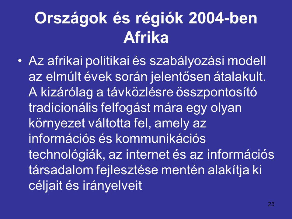 23 Országok és régiók 2004-ben Afrika •Az afrikai politikai és szabályozási modell az elmúlt évek során jelentősen átalakult. A kizárólag a távközlésr