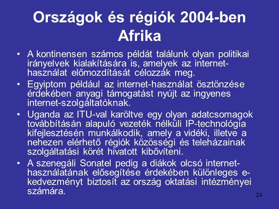 24 Országok és régiók 2004-ben Afrika •A kontinensen számos példát találunk olyan politikai irányelvek kialakítására is, amelyek az internet- használat előmozdítását célozzák meg.