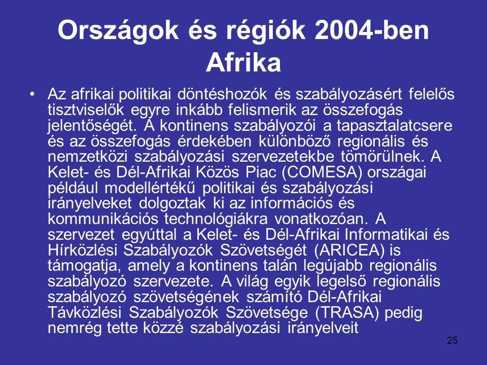 25 Országok és régiók 2004-ben Afrika •Az afrikai politikai döntéshozók és szabályozásért felelős tisztviselők egyre inkább felismerik az összefogás j