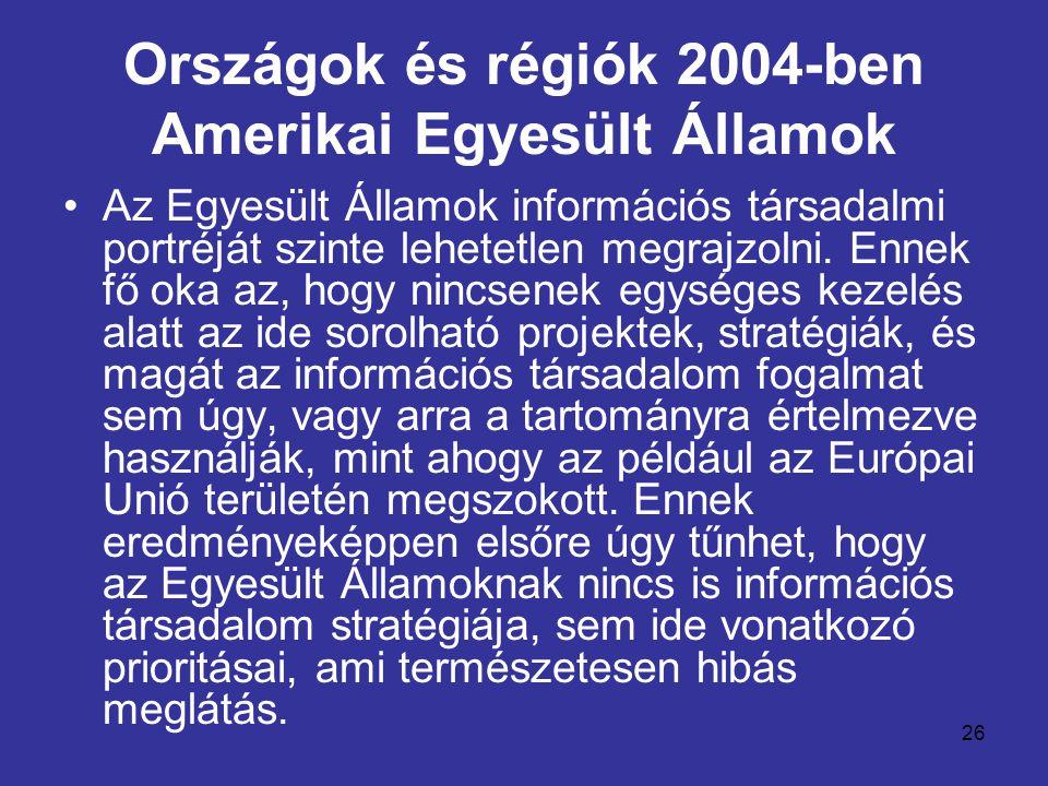 26 Országok és régiók 2004-ben Amerikai Egyesült Államok •Az Egyesült Államok információs társadalmi portréját szinte lehetetlen megrajzolni. Ennek fő