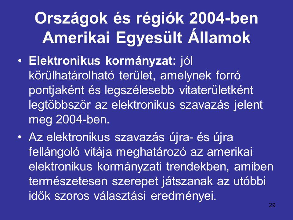29 Országok és régiók 2004-ben Amerikai Egyesült Államok •Elektronikus kormányzat: jól körülhatárolható terület, amelynek forró pontjaként és legszélesebb vitaterületként legtöbbször az elektronikus szavazás jelent meg 2004-ben.