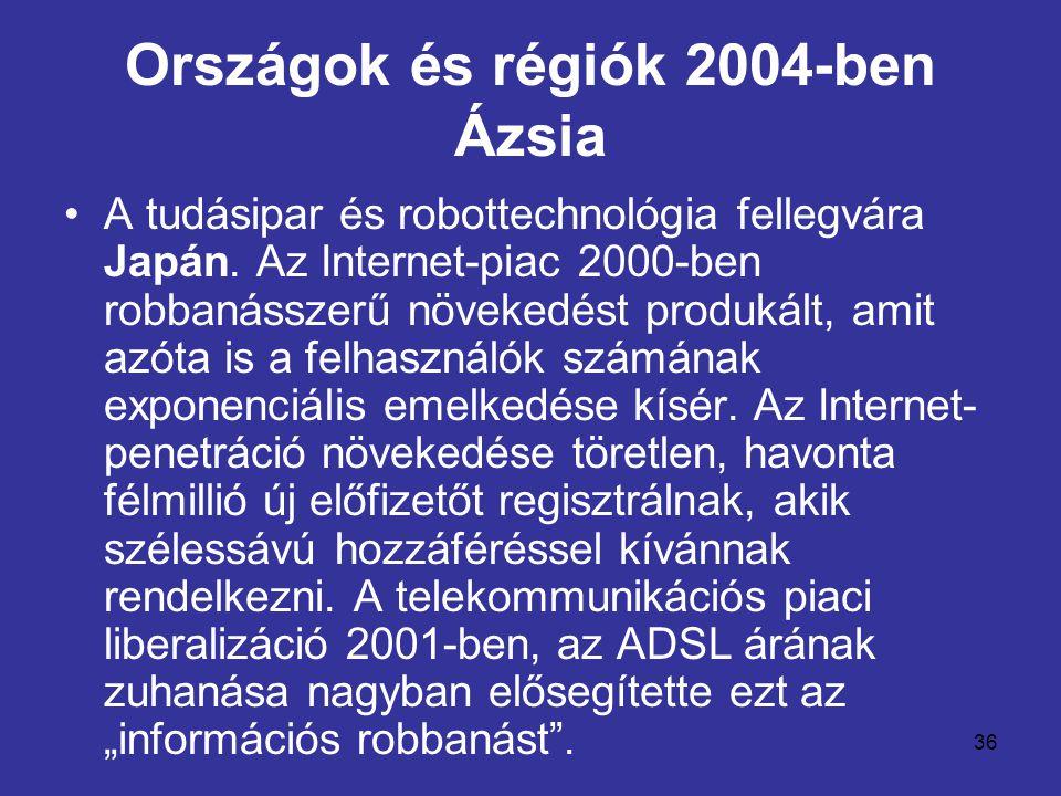 36 Országok és régiók 2004-ben Ázsia •A tudásipar és robottechnológia fellegvára Japán. Az Internet-piac 2000-ben robbanásszerű növekedést produkált,