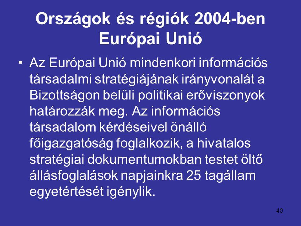40 Országok és régiók 2004-ben Európai Unió •Az Európai Unió mindenkori információs társadalmi stratégiájának irányvonalát a Bizottságon belüli politi