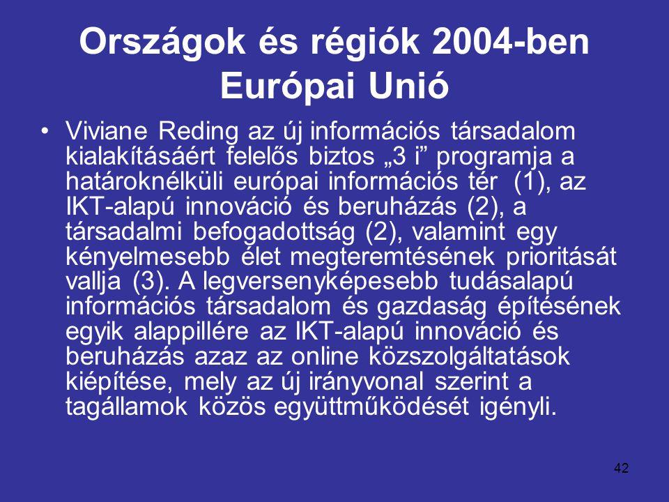 """42 Országok és régiók 2004-ben Európai Unió •Viviane Reding az új információs társadalom kialakításáért felelős biztos """"3 i programja a határoknélküli európai információs tér (1), az IKT-alapú innováció és beruházás (2), a társadalmi befogadottság (2), valamint egy kényelmesebb élet megteremtésének prioritását vallja (3)."""